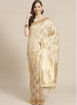 Silk Weaving Designer Saree in Cream