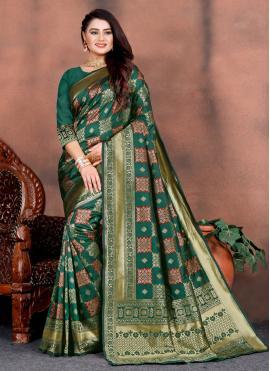 Silk Weaving Designer Saree in Teal