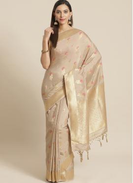 Silk Weaving Designer Traditional Saree in Beige