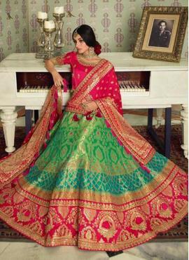 Silk Weaving Green A Line Lehenga Choli