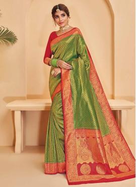 Silk Weaving Green Designer Saree