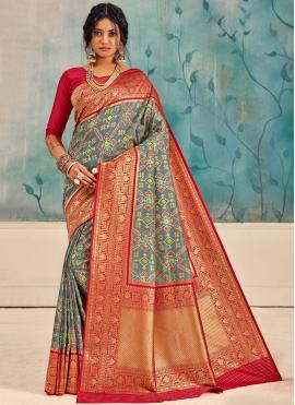 Silk Weaving Multi Colour Traditional Saree