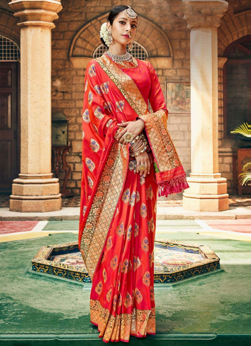 Silk Weaving Red Traditional Designer Saree
