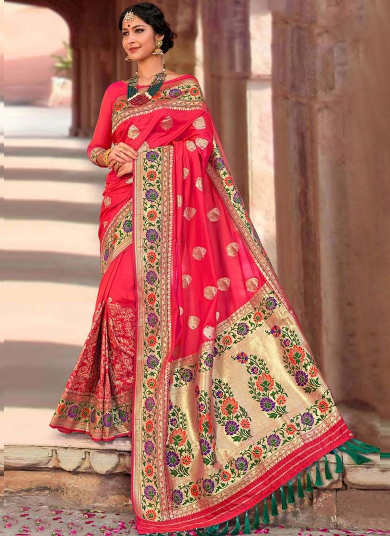 Silk Weaving Rose Pink Designer Traditional Saree