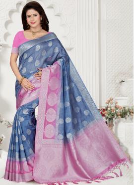 Silk Weaving Trendy Saree in Blue