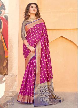 Silk Weaving Trendy Saree in Pink