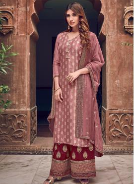 Silk Woven Pink Designer Straight Salwar Suit