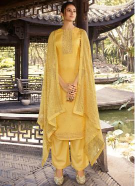 Silk Yellow Designer Palazzo Suit