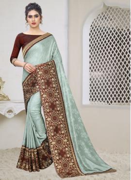 Silk Zari Grey Designer Saree