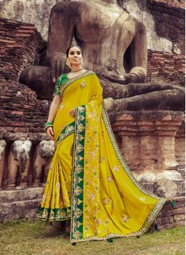 Silk Zari Yellow Designer Saree