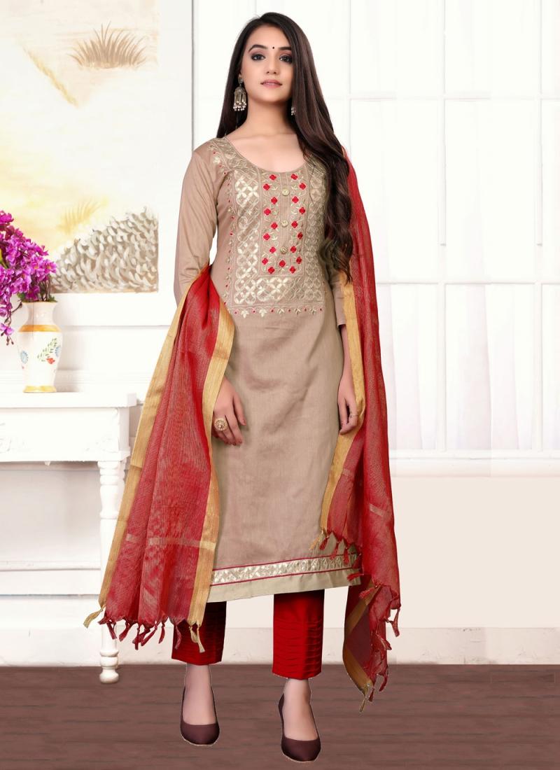 Simplistic Handwork Beige Cotton Designer Straight Suit