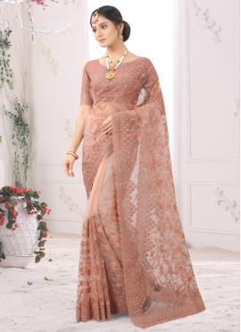 Simplistic Peach Embroidered Net Classic Designer Saree