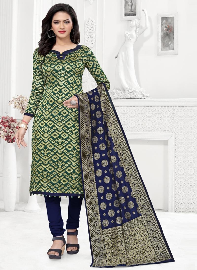 Snazzy Banarasi Silk Weaving Green Churidar Suit