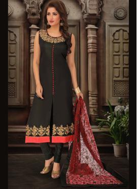 Snazzy Black Art Silk Bollywood Salwar Kameez