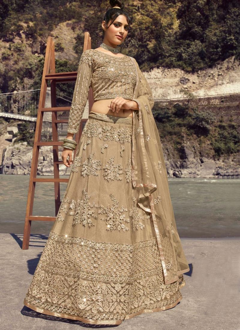 Snazzy Net Mehndi Lehenga Choli