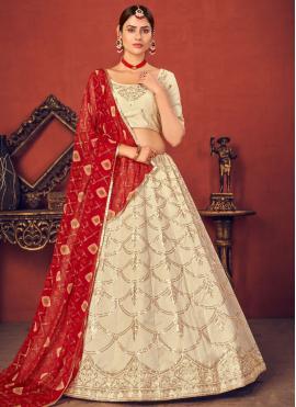 Snazzy Sequins Beige Art Silk Lehenga Choli