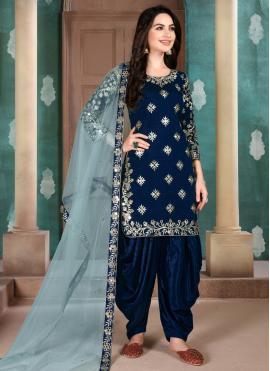 Sophisticated Art Silk Embroidered Blue Salwar Suit