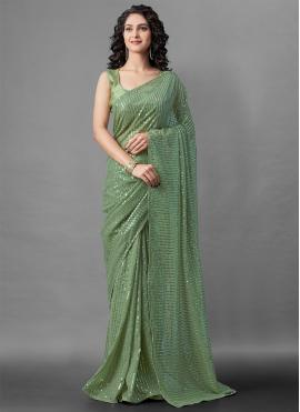 Sophisticated Faux Georgette Green Designer Saree