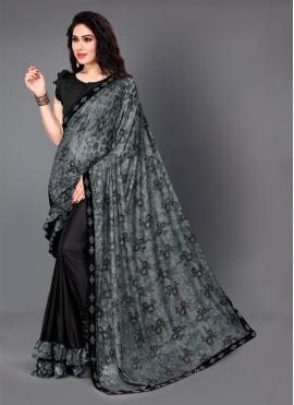 Sophisticated Lycra Black Lace Trendy Saree