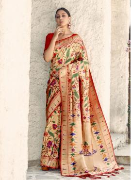 Sophisticated Multi Colour Weaving Handloom silk Designer Traditional Saree