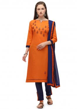 Sophisticated Orange Embroidered Churidar Suit