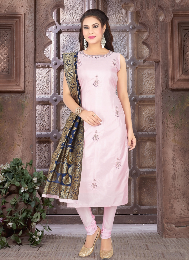 Sophisticated Pink Fancy Art Silk Readymade Suit