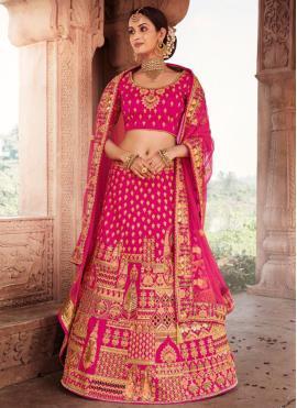 Sophisticated Silk Embroidered Pink Lehenga Choli