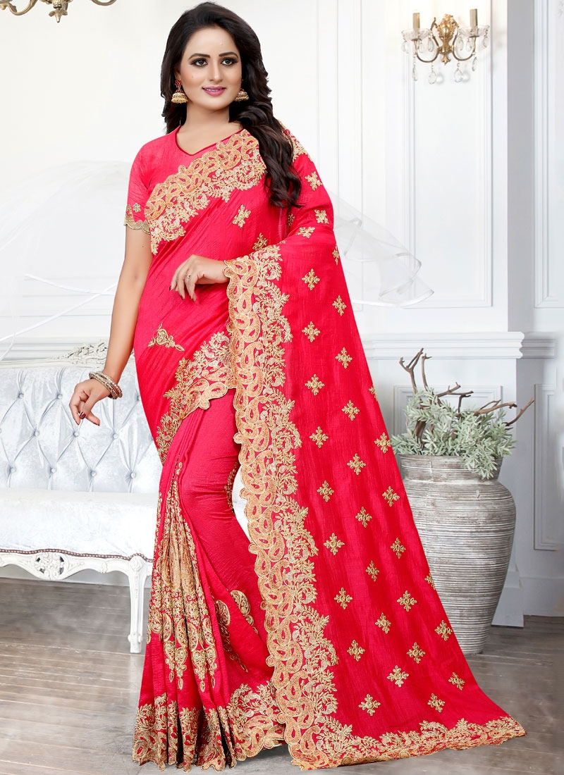 Sophisticated Silk Stone Work Hot Pink Traditional Saree