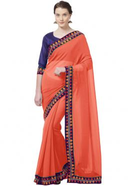Sorcerous Abstract Print Faux Chiffon Orange Printed Saree