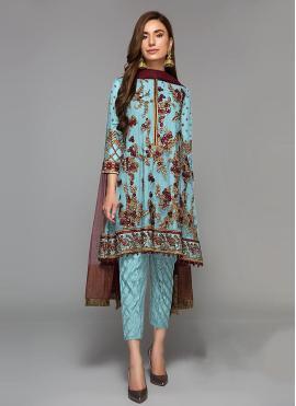 Sorcerous Faux Georgette Blue Designer Suit