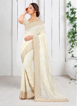Sorcerous Off White Stone Work Vichitra Silk Silk Saree