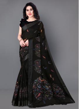 Sparkling Cotton Printed Traditional Saree