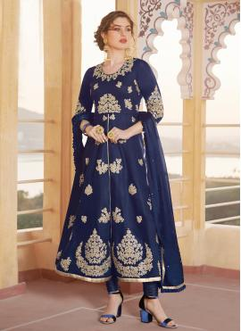 Sparkling Embroidered Blue Chanderi Anarkali Salwar Kameez