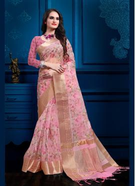 Sparkling Organza Pink Digital Print Contemporary Saree