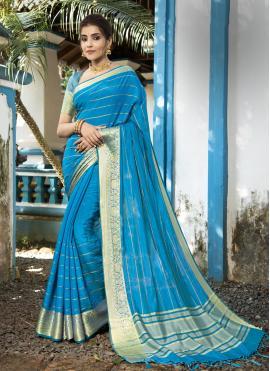 Sparkling Silk Woven Aqua Blue Designer Traditional Saree