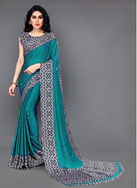 Sparkling Teal Silk Casual Saree