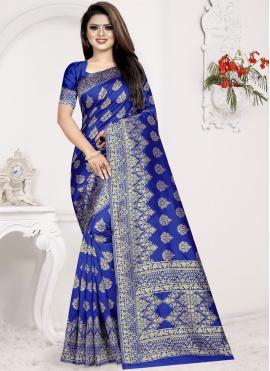 Specialised Blue Art Silk Designer Traditional Saree