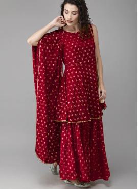 Specialised Fancy Red Designer Palazzo Salwar Kameez