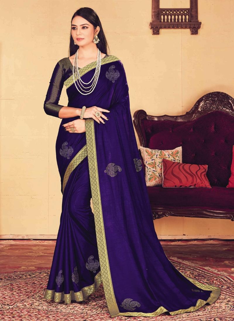 Specialised Patch Border Blue Classic Designer Saree