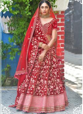 Specialised Red Patch Border Velvet Lehenga Choli