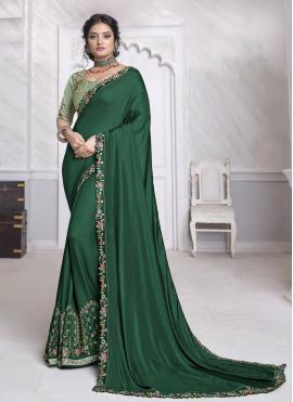 Specialised Silk Green Embroidered Designer Saree