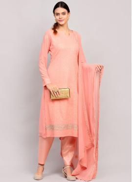 Spectacular Faux Georgette Pink Designer Straight Suit