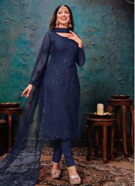 Spectacular Net Embroidered Blue Churidar Designer Suit