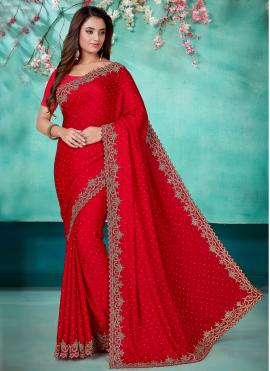 Spectacular Red Embroidered Designer Saree