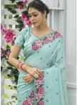 Spectacular Silk Embroidered Blue Designer Traditional Saree - 1