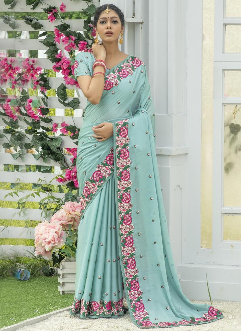 Spectacular Silk Embroidered Blue Designer Traditional Saree