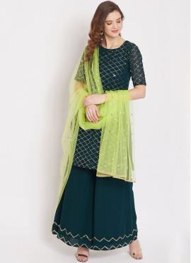 Spellbinding Faux Georgette Fancy Morpeach  Designer Pakistani Suit
