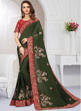 Spellbinding Green Zari Satin Classic Saree