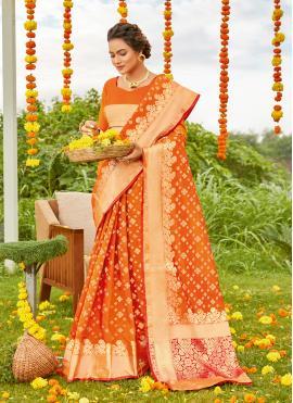 Spellbinding Orange Weaving Designer Saree