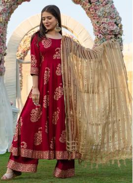 Spellbinding Rayon Printed Bollywood Salwar Kameez